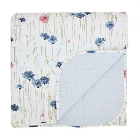 Meadow Flowers Quilted Throw, Cornflower Blue