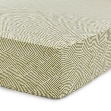 Palm House Double Fitted Sheet, Botanical Green