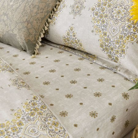 Siam Diamond Fitted Sheets, Sumac & Grey