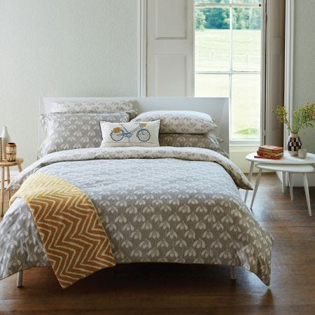 Grey Floral Bedding