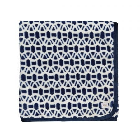 Scion Lace Fleece Throw Indigo