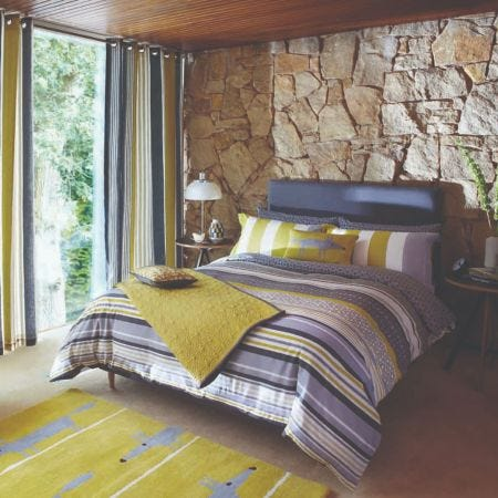 Grey Striped Double Quilt Covers