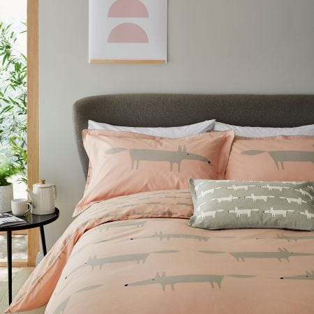 Mr Fox Kingsize Duvet Cover Set, Blush
