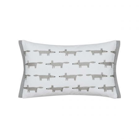 Mr Fox Brushed Cotton Cushion Silver