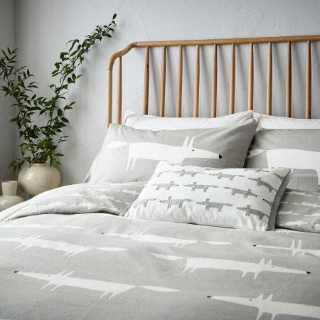 Mr Fox Brushed Cotton Bedding Silver