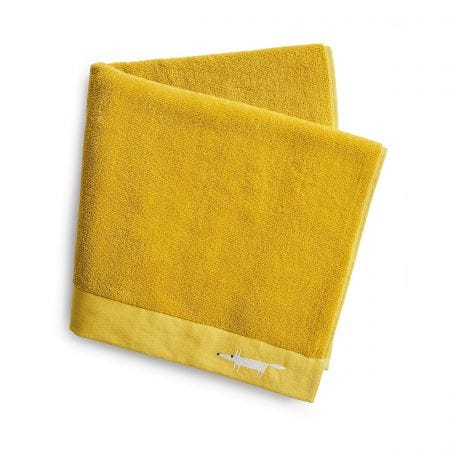 Mr Fox Embroidered Towels Mustard