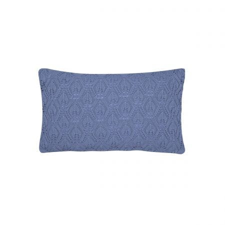Spring Flowers Blue Knitted Cushion