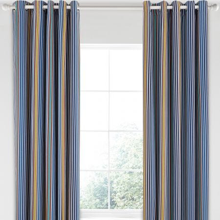 "Tamar Lined Curtains, 66"" x 90"", Tape Top, Indigo"