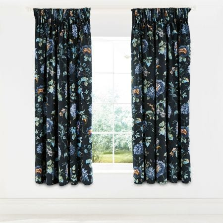 Everlasting Bloom Indigo Lined Curtains