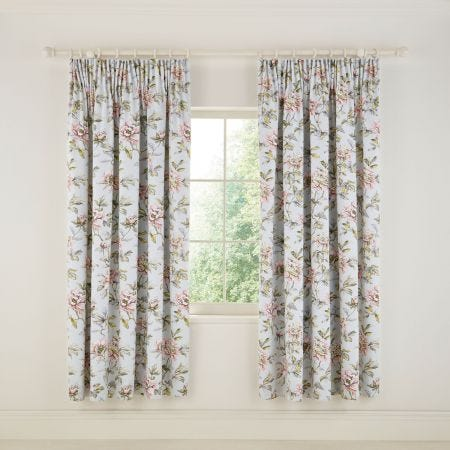 Peony Blossom Silver Lined Curtains