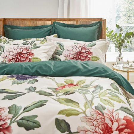 Perennial Peony Double Duvet Cover, Leaf Green