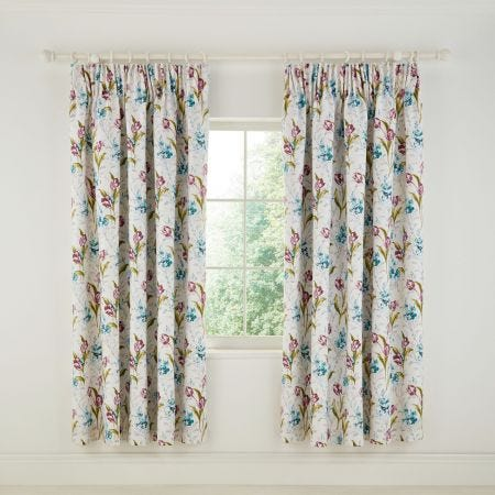 Spring Tulips Aqua Curtains