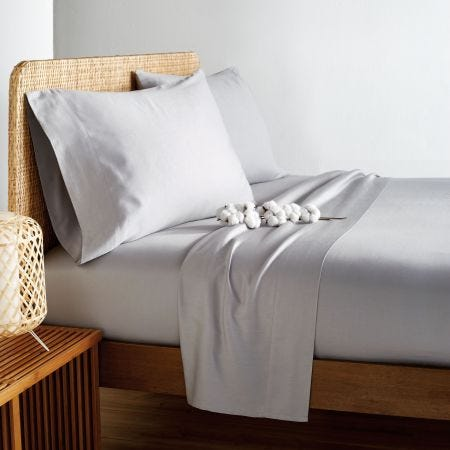 Vitamin Sea Grey Plain Dye Fitted Sheets