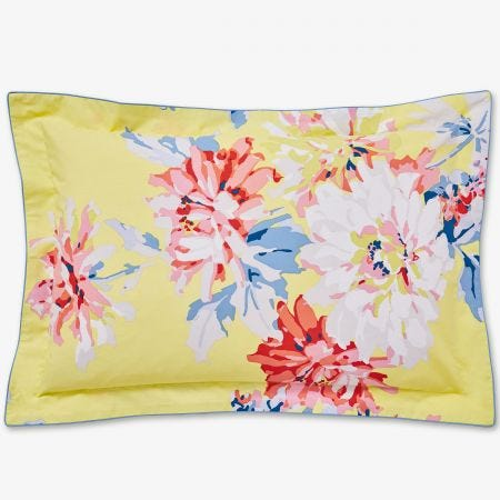 Whitstable Floral Oxford Pillowcase, Yellow