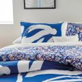 Abstract Floral Leaf Bedding in Blue