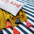 Joules Gold Knit Throw with Tassels