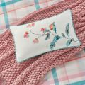 Joules Floral Cushion with Soft Blue Piping