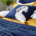 Gold Bedding with Navy Accessories