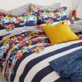 Joules Navy and White Floral Stripe Bed Linen