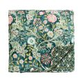 Traditional Green Floral Quilted Throw