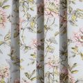 Peony Blossom Silver Curtains