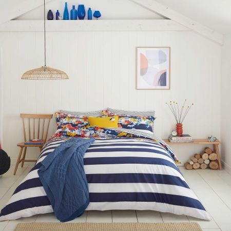 Navy and White Striped Bedding by Joules