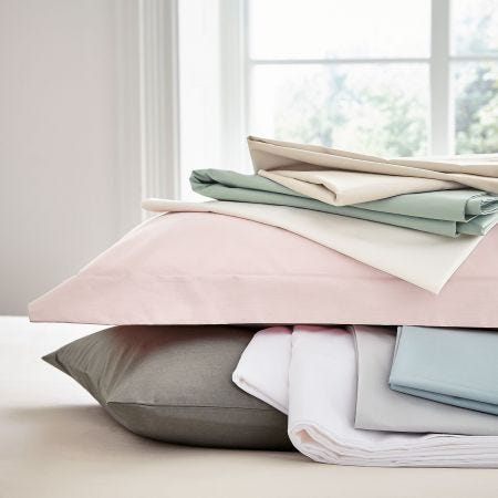 Peacock Blue 300 thread count sheets stacked