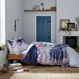 Cottage Garden White & Navy Stripe Bedding