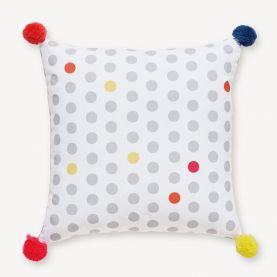 Joules Spotted Cushion with Pom Poms