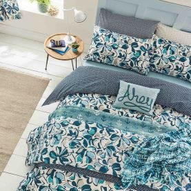 St Ives Coastal Blue Floral Bedding