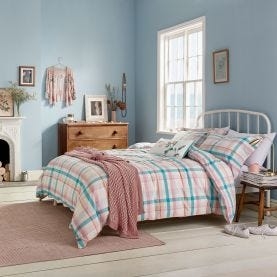 Joules Blue & Pink Check Bedding