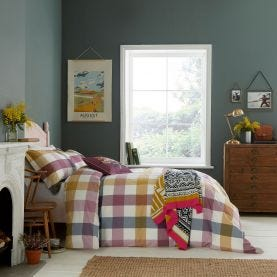 Country Ramble Plum Check Bedding