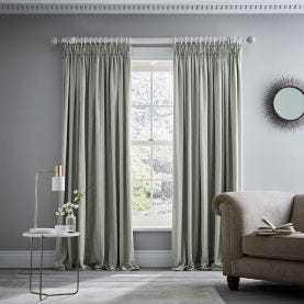 "Niki Pair of Lined Curtains 66"" x 90"", Sage"