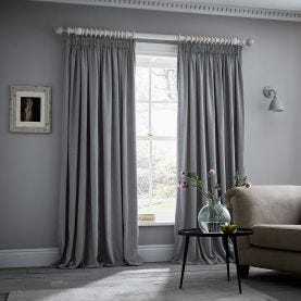 "Niki Pair of Lined Curtains 66"" x 90"", Sky Blue"