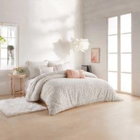 Clipped Floral Textured Bedding in Natural