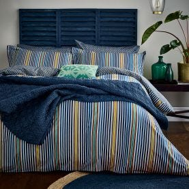 Tamar Blue and Yellow Striped Bedding