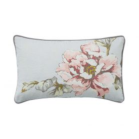 Peony Blossom Silver Cushion Front