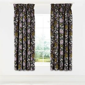 Peony Trail Midnight Lined Curtains