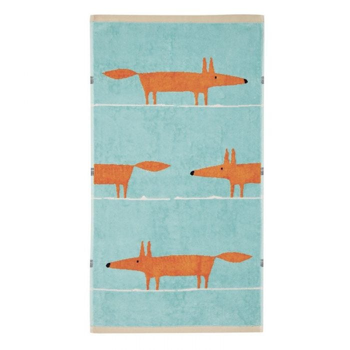 Mr Fox Towel Aqua & Tangerine