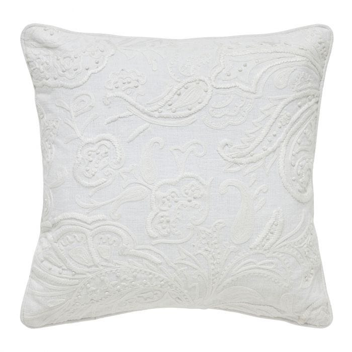 Athie Hand Embroidered Cushion, White