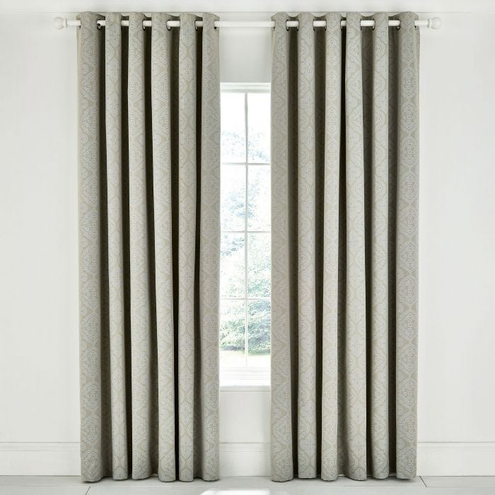 Ravi Sage Lined Eyelet Curtains.