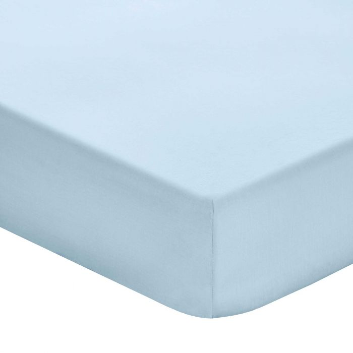 Plain Blue Double Fitted Sheets