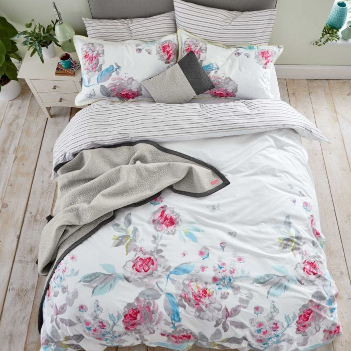 Bright White Beau Bloom Double Duvet Cover