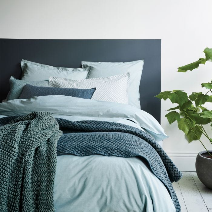 Chambray Double Fitted Sheet, Eucalyptus