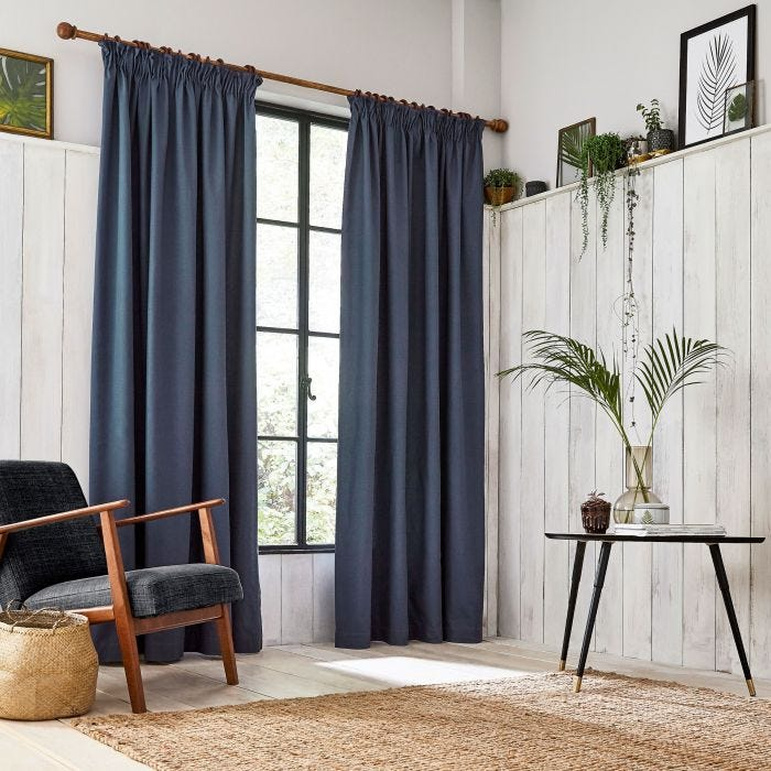 Chroma Dark Blue lined Tape Top Curtains.