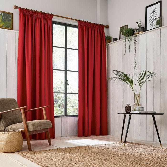 Chroma Paprika Lined Curtains.