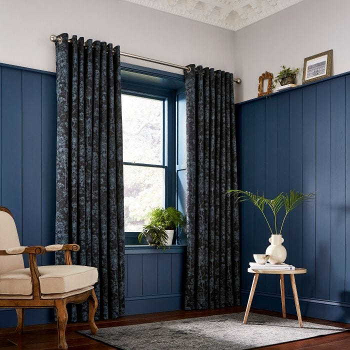Dill Dark Blue Lined Curtains.