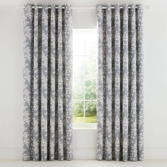 Ginkgo Lined Patchwork Eyelet Curtains.