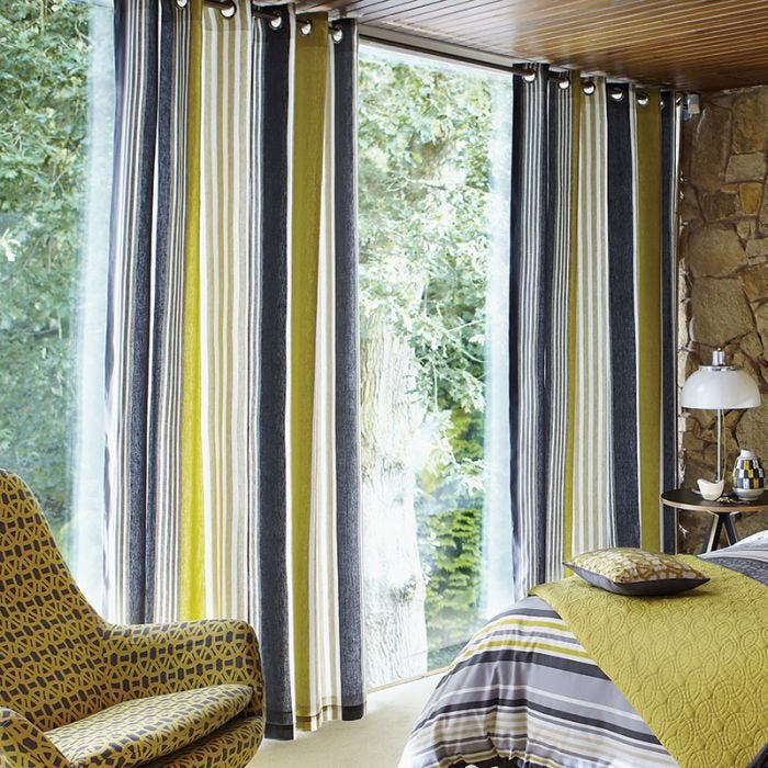 Scion Lace Stripe Grey & Yellow Curtains