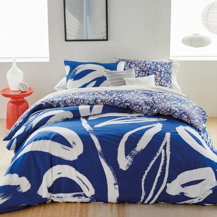 Abstract Floral Blue Bedding by DKNY